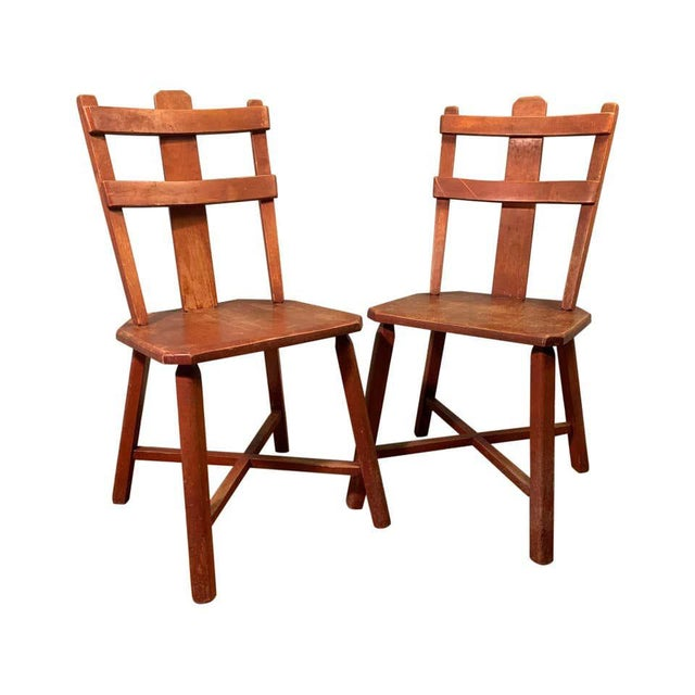 Primitive Pair of Cherrywood Side Chairs in the Manner of Jean Touret For Sale - Image 11 of 11