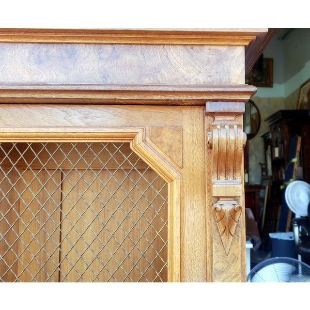 Antique 19th Century Palatial Size Burl Walnut Eastlake Victorian Butler's Secretary Desk C1860 For Sale - Image 9 of 13