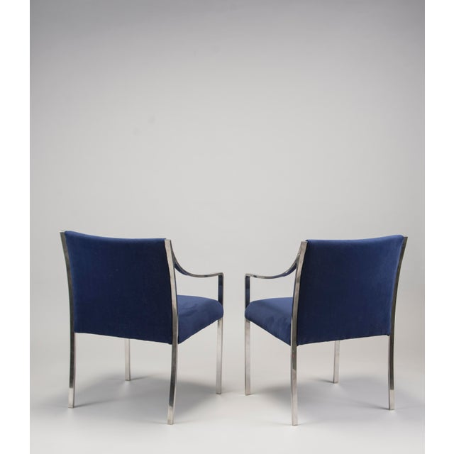 Mid-Century Modern Pair Bert England for Stow Davis Steel Frame Arm Chairs For Sale - Image 3 of 8