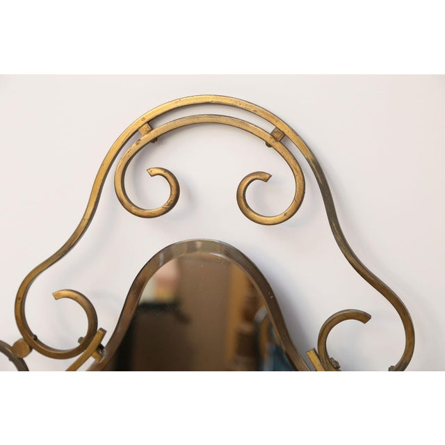 Glass French Vintage Brass Frame Mirror For Sale - Image 7 of 10