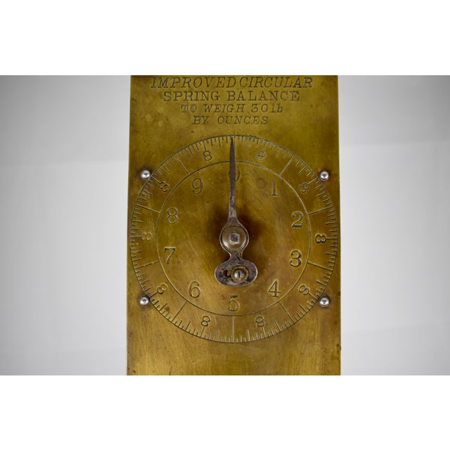 Brass Chatillion Hanging 30 Lb. Brass Mercantile Scale with Steel Tray For Sale - Image 7 of 11