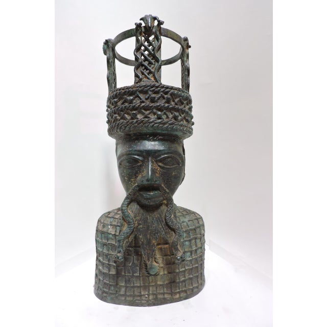 Early 20th Century Cast Bronze Bust of Benin Chief, Africa For Sale - Image 5 of 5