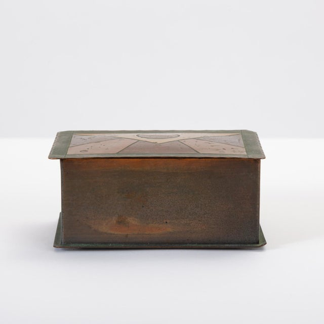 Art Deco Handmade Copper Box With Painted Geometric Pattern by Craftsman Studios For Sale - Image 3 of 11