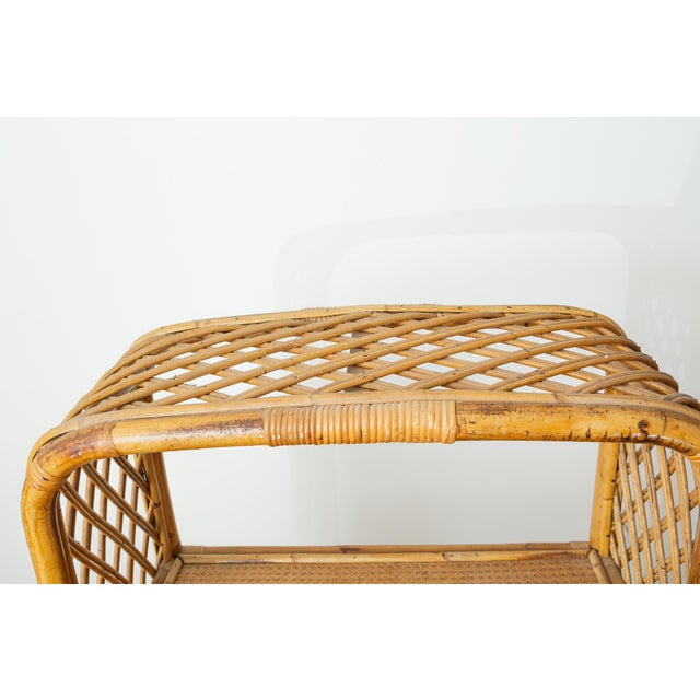 1960s Boho Chic Bamboo and Wicker Rattan Etagere For Sale In New York - Image 6 of 11