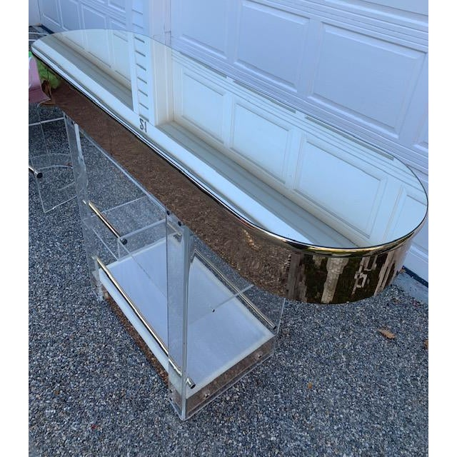 Gold Vintage Charles Hollis Jones Lucite Bar and Stools For Sale - Image 8 of 10