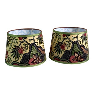 Vintage Batik Fabric Covered Handmade Lampshades - A Pair For Sale