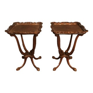 1940s Traditional Mahogany French Side Tables - a Pair For Sale