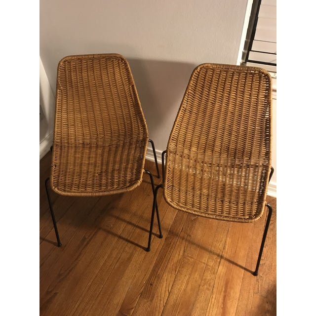 1960s Vintage Campo Graffi Wicker Armless Chairs - A Pair - Image 8 of 8