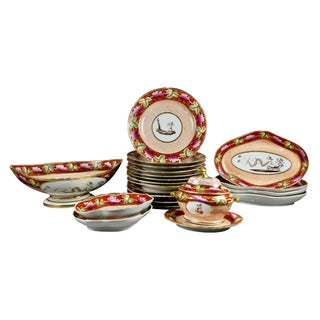 Coalport Pottery Part Dessert Service - 21 Pc. Set For Sale