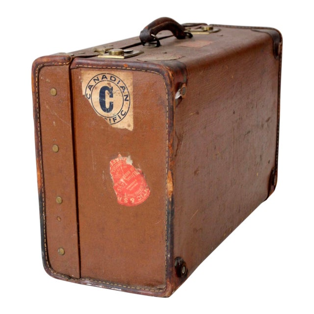 Vintage Suitcase With Travel Stickers For Sale