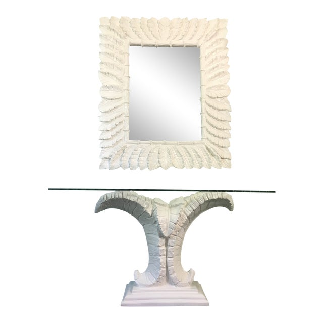 Sculptural Palm Leaf Console Table and Mirror After Serge Roche & Dorothy Draper For Sale