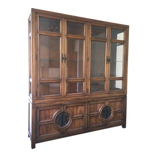Asian Chinoiserie Lighted Cabinet by Century For Sale