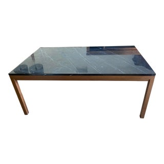 Crate & Barrel Elm + Marble Parsons Table For Sale