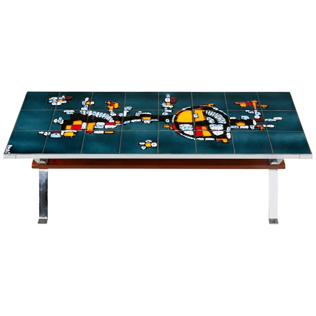 1960s Italian Chrome and Ceramic Tile Top Coffee Table, Signed For Sale - Image 11 of 11
