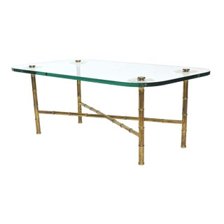 Fine Maison Baguès Brass and Glass Low Table For Sale