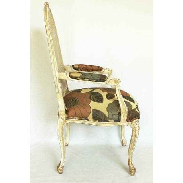 Vintage French Carved Cane Back Arm Chair For Sale - Image 4 of 6