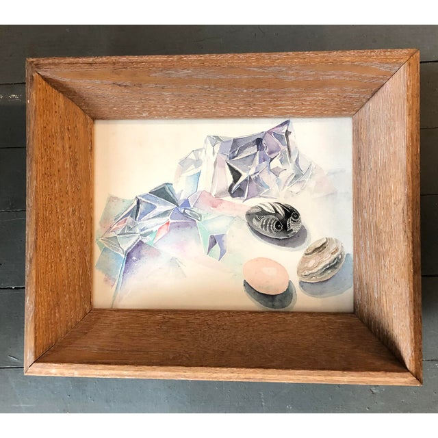 Contemporary Vintage Original Abstract Still Life With Eggs Modernist Watercolor Painting For Sale - Image 3 of 3