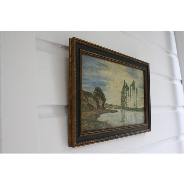 Cottage 1930s Vintage Framed Fauvist Oil on Board Landscape Painting For Sale - Image 3 of 6