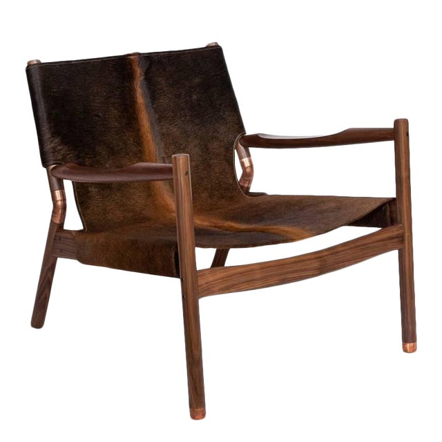 Customizable Erickson Aesthetics Slung Brindle Walnut Lounge Chair For Sale