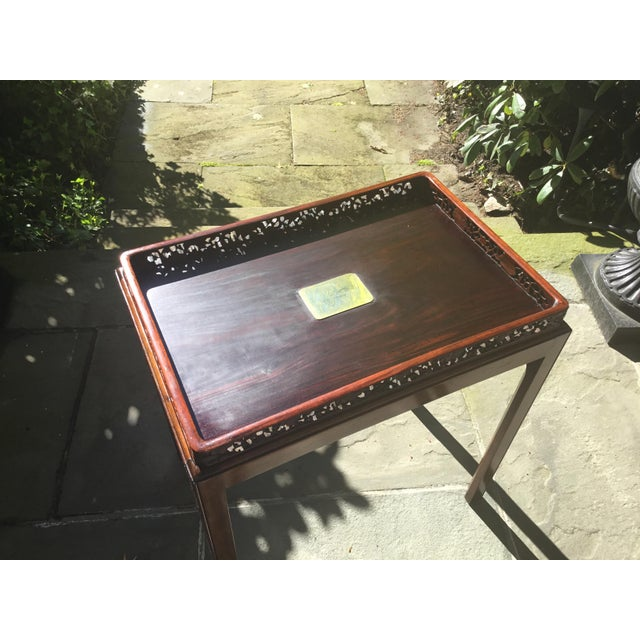 Chinoiserie Chippendale Rosewood Tray Table For Sale - Image 4 of 12
