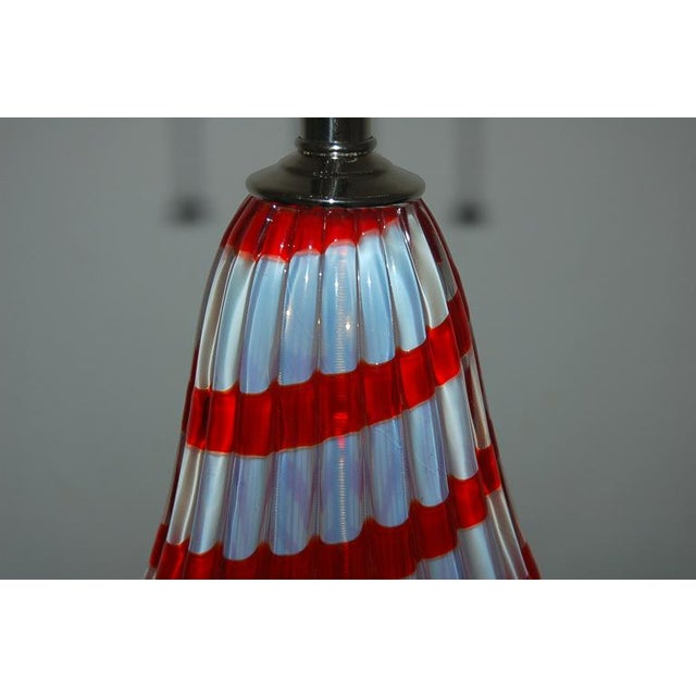 Vintage Murano Opaline Glass Table Lamps White Red For Sale In Little Rock - Image 6 of 6