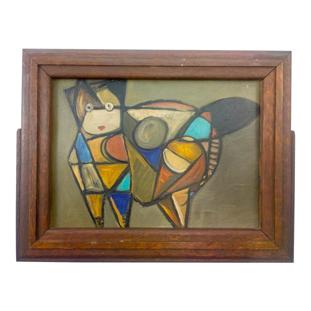 Cubist Cat Oil Painting in Frame For Sale