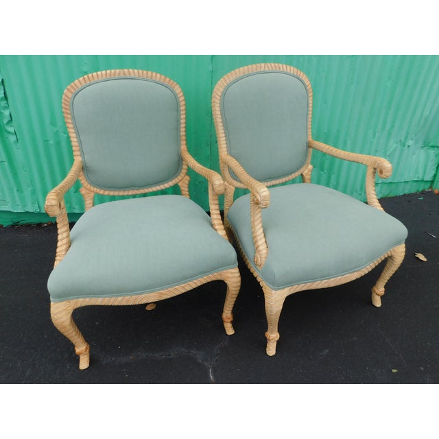 Hollywood Regency Carved Knotted & Twisted Rope Bergere Chairs - a Pair For Sale - Image 11 of 11