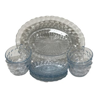 Vintage Anchor Hocking Sapphire Blue Bubble Glass Dinnerware For Sale