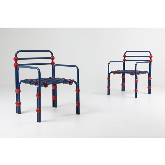 Memphis Italian Postmodern Pair of Armchairs in Red and Blue For Sale - Image 3 of 8