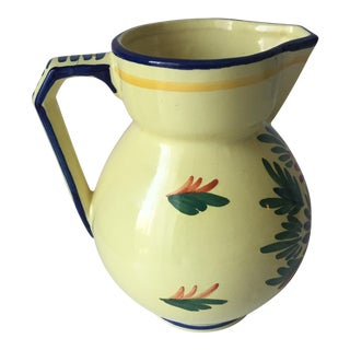French Quimper Hand-Painted Pitcher