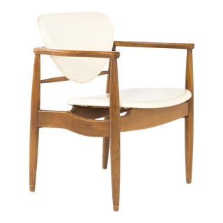 Finn Juhl Style Mid Century Walnut Captains Occasional Dining Desk Chair For Sale