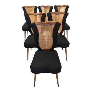 Tulip Shaped Caned Back Dining Chairs - Set of 6 For Sale