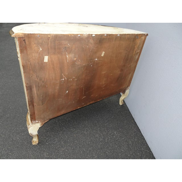 Antique French Country Italian White Hand Painted Demilune Chest Made in Italy For Sale - Image 10 of 13
