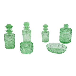 Val Saint Lambert 6 Piece Apple Green Crystal Dresser Set For Sale
