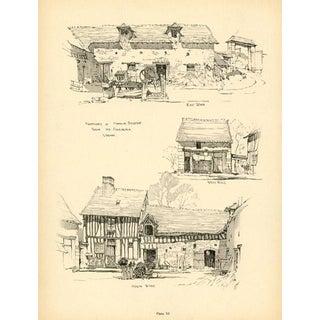 1920s French Architecture Print, Farmyard in Vernon For Sale