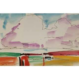 Jose Trujillo Southwest Clouds Original Watercolor Painting Study For Sale