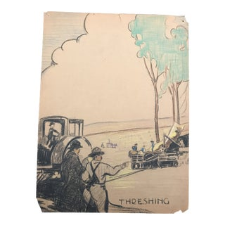 "1940s Evelyn Underwood ""Threshing"" Drawing For Sale"