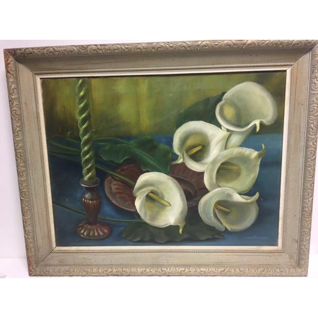 Charming vintage painting of callalily, on canvas and signed by artist M. Funkhouser. A good eye for color, truly in vogue...