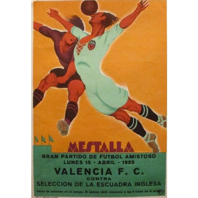 Original Vintage 1929 Soccer Poster for Spain - Image 2 of 4