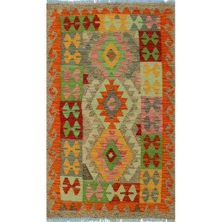 Contemporary Kilim Arya Dinorah Gray/Red Wool Rug (2'8 X 4'1)