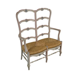 French Country Style Vintage Painted Ladder Back Rush Seat Settee For Sale