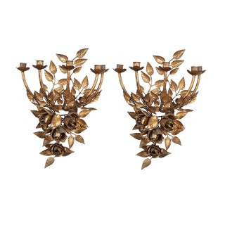 Pair of Floral Candleholder Sconces For Sale