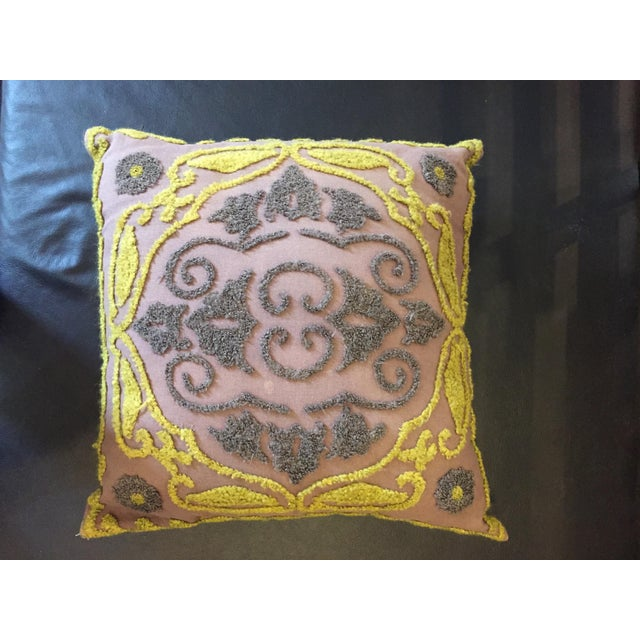 1940s Vintage Chenille Embroidered Pillow For Sale In Sacramento - Image 6 of 6