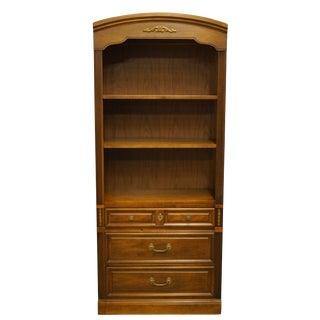 "20th Century Italian Provincial Dixie Furniture Walnut 32"" Open Bookcase / Wall Unit For Sale"