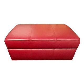 Ethan Allen Red Leather Storage Ottoman For Sale