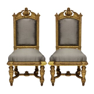 A Pair of Fine Napoleon III Water Gilded Chairs For Sale