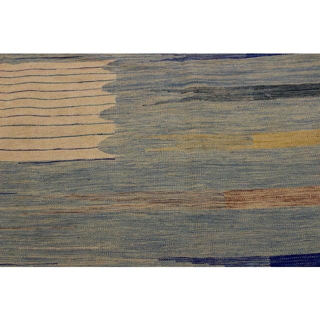 2000 - 2009 Modern Bauhaus Shultz Blue Hand-Woven Kilim Wool Rug - 8′11″ × 12′3″ For Sale - Image 5 of 8