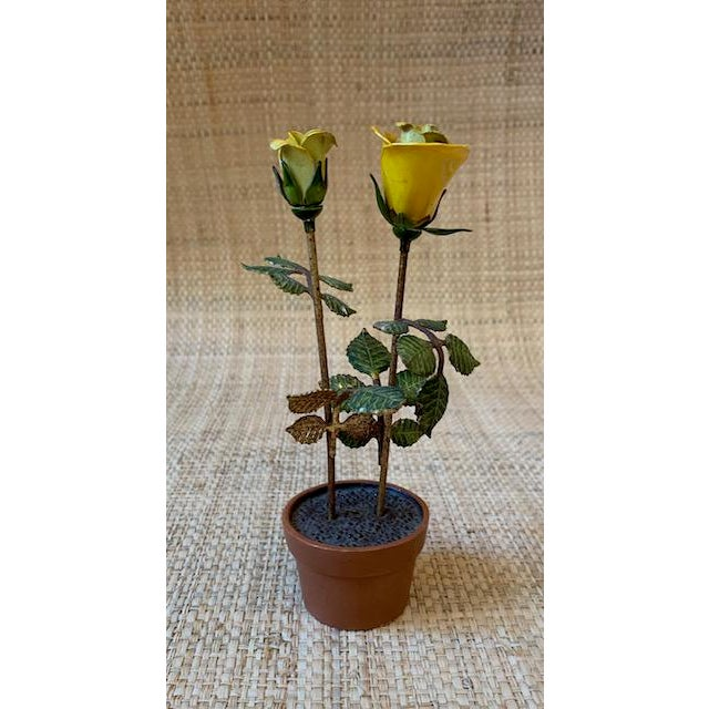 """""""Potted"""" yellow roses in a terra cotta vase. So sweet on a table, bookshelf, window sill, powder room. A great gift for a..."""
