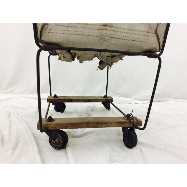 White Vintage Laundry Cart Basket For Sale - Image 8 of 8