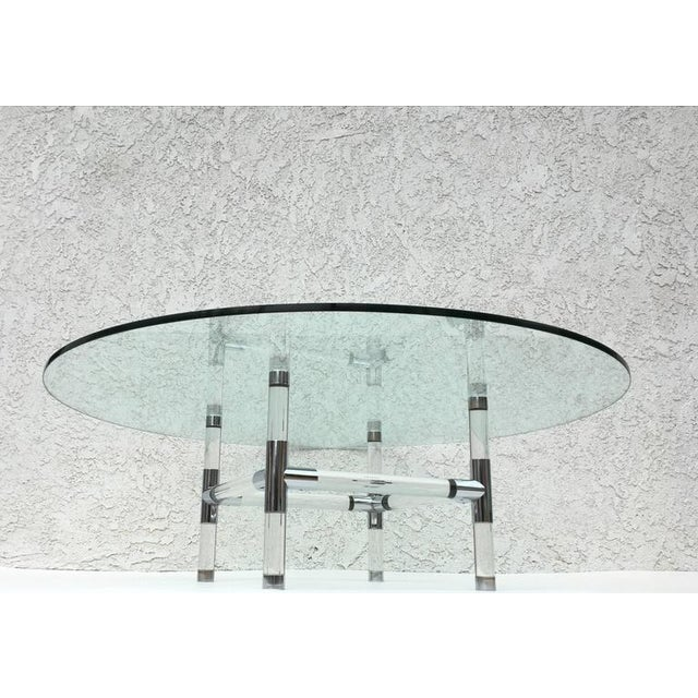 Contemporary Acrylic and Chrome Cocktail Table by Charles Hollis Jones For Sale - Image 3 of 6
